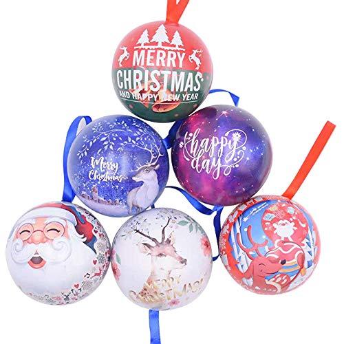 Amasawa 6 Pezzi Palle di Natale, Decorazioni per Alberi di Natale, Decorazioni Natalizie,Candy Can, 2,7 Pollici / 7 cm Tema dell'albero di Natale