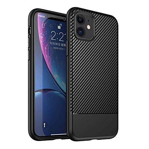 Best Shopper - Carbon Fiber Ultra Thin Soft Case Slim Flexible Silicone Protective Cover for Apple iPhone 11 6.1'' - Black