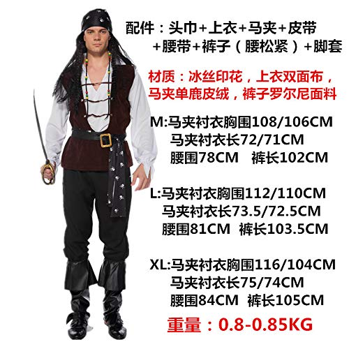 Personaje de Traje Pirata de Hombre Piratas del mar Caribe Traje de Halloween Traje de Fiesta de Halloween L Blanco