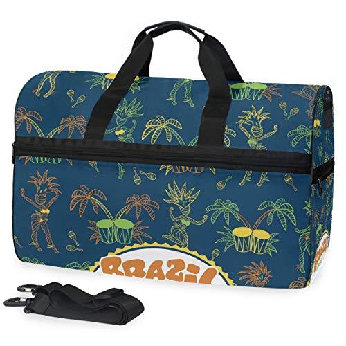 LUPINZ Brazilian Element Weekend Bag Overnight Carry On Handtasche Sport Gym Bag mit Schuhfach