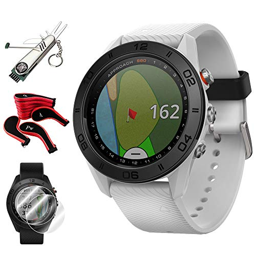 Great Features Of Garmin Approach S60 Golf Watch White w/White Band + Screen Protector (2-Pack) + 7-...