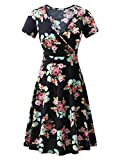 MSBASIC Midi Party Dress Dinner Dresses for Women Black Peony S