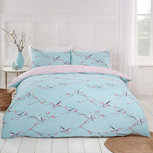 Dreamscene Floral Reversible Duvet Bedding Linen Set, Duck Egg Blush Pink Bird Print, Double