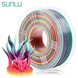【SUNLU Multi Colors Rainbow Filament PLA】 The color changes every 15 meters. The finished 3d printed items with unique multi gradually colors, make your print more eye-catching and unique. 【High Compatibility PLA Filament】 The Rainbow Multi Color gra...