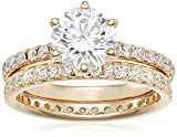 Yellow-Gold Plated Sterling Silver Round Ring Set made with Swarovski Zirconia (1 Carat Center Stone), Size 6