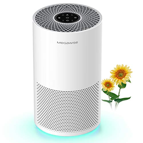 MEGAWISE Smart Air Purifier for Home Large Room Up to 540 ft², Medical Grade H13 True HEPA Filter, Smart Air Quality Sensor, Quiet Air Cleaner for Pollen, Asthma, Pets, Odors, Smoke, Dust, Ozone Free
