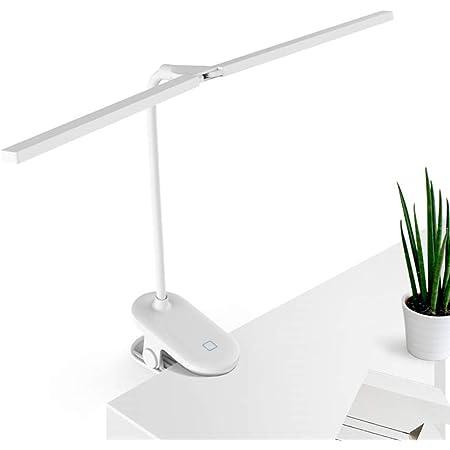 L-JUWA クリップライト led デスクライト 目に優しい 明るい 2021年新型ダブルランプ スタンドライト コードレス 卓上ライト おしゃれ ブックライト クリップ 読書灯 ベッド テーブルライト 3段階調色 無段階調光 電気スタンド USB充電式 省エネ 360°回転 (ホワイト)