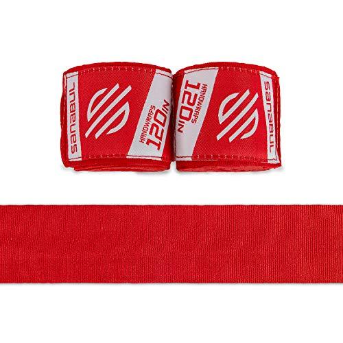 Sanabul Elastic 120 inch Handwraps for Boxing Kickboxing Muay Thai MMA (Red, 120 inch)
