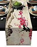 Vandarllin Black and Red Cherry Blossom Tree Dining Table Runner Non-Slip Table Decor for Dresser Kitchen Coffee Foyer Table, Rectangle Table Setting Decor for Garden Wedding Parties (18 x 72inch)