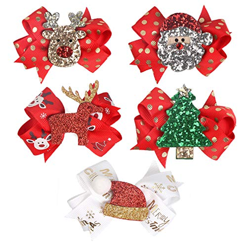 5 Pcs Christmas Sequins Alligator Clips Girls Hair Clips Bows Barrettes Hair Accessories,Include Santa,Christmas Tree and Cap, Elk Styles