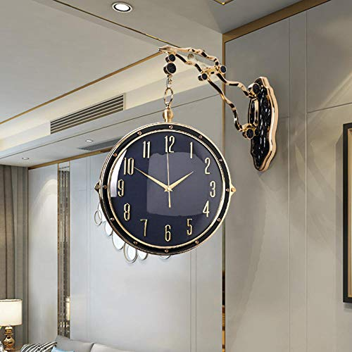 XGzhsa Wanduhren Uhren & Wecker Doppelseitige Leichte Doppelseitige Quarzuhr-Schwarzes Lisheng-Uhrwerk