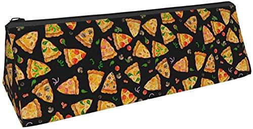 Bolsa de lápiz triangular para pizza, comida y pimienta, tomate, bolsa de cosméticos, bolsa con cremallera para almacenamiento diario de objetos pequeños en la escuela, oficina, viajes o maquillaje.