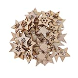 FLAMEER 50 Stück Holz Sternformen Schneeflocke Holzscheiben Tischdekoration Holz Deko Basteln Weihnachtsdeko - natürlich, 30 mm