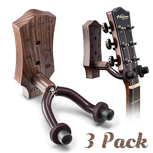 Guitar Wall Mount, Hard Wood Guitar Wall Hanger, Guitar Hook Stand Accessories for Acoustic Electric Bass Ukulele Guitar Holder (3 Pack)
