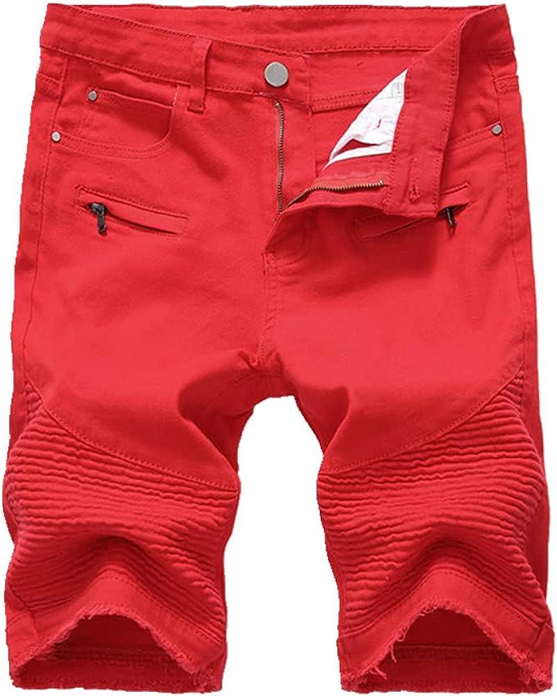 NP Men's Denim Shorts Personality Slim Short Jeans