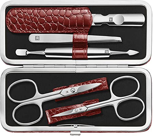 ZWILLING CLASSIC INOX Maniküre Set Pediküre Kit, Nagelpflege aus Edelstahl, Rindleder, Kroko Edition, 5-teilig, Rot