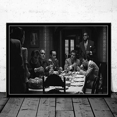 WIOIW Hollywood Gangster Movie Godfather Scarface Sopranos Marlon Brando Corleone Family Canvas Painting Wall Art Poster Dormitorio Sala de Estar Estudio Decoración del hogar