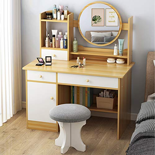 Modernes Waschtischset, Make-up-Schminktisch, mit rundem Spiegel, 3 Schubladen und 1 Tür, Hocker und Aufbewahrungseinheiten, für Schlafzimmer, Badezimmer