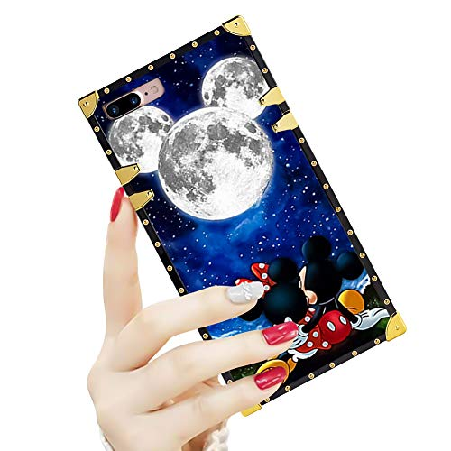 DISNEY COLLECTION Luxury Square Case for iPhone 7/8 Plus 5.5' Mickey and Minnie are Dating Pattern Design Flexible Reinforced Metal Decoration Corners Shockproof Slim Cover