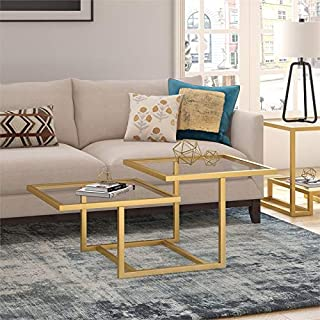 Henn&Hart Two Tier Glass Top Coffee Table in Gold