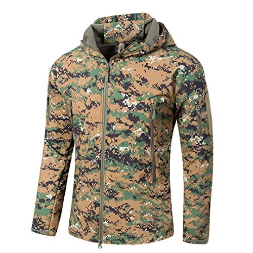 Chaqueta Lana Militar Camuflaje Impermeable para Hombre Chaqueta táctica Militar Rompevientos Softshell JD XXXL