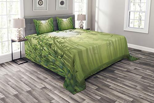 ABAKUHAUS Bambus Tagesdecke Set, Bambus-Bäume im Wald, Set mit Kissenbezügen Feste Farben, für Doppelbetten 220 x 220 cm, Grün