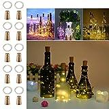 LED Botella Luces con corcho - 2m 20 LED De pilas Alambre de cobre Vino Cuerda Luces para Fiesta Boda Partido Navidad Bricolaje Decoraciones, blanco cálido, paquete de 10