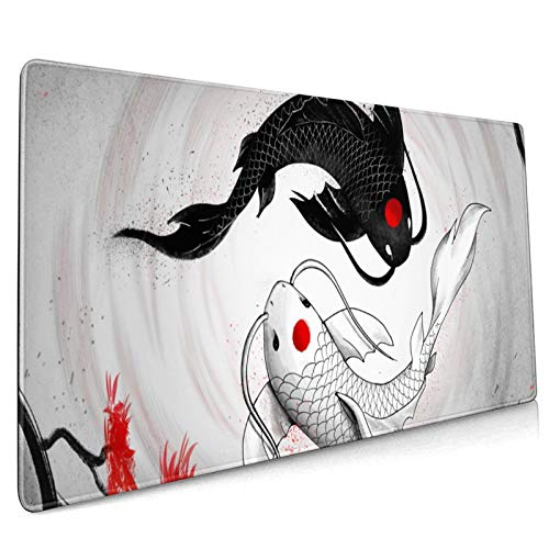 Japanese Koi Carp Yin and Yang Fish Gaming Mouse Pad Large Mouse Pad Mat Long Extended Mousepad Desk Pad Non-Slip Rubber Mice Pads Stitched Edges Computer Keyboard Mat 15.8x35.5 in (40cmx90cm)