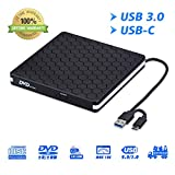 External DVD Drive for Laptop, Portable High-Speed USB-C&USB 3.0 CD Burner/DVD Reader Writer for PC Desktops, Compatible with Windows/Mac OSX/Linux (USB C&3.0)