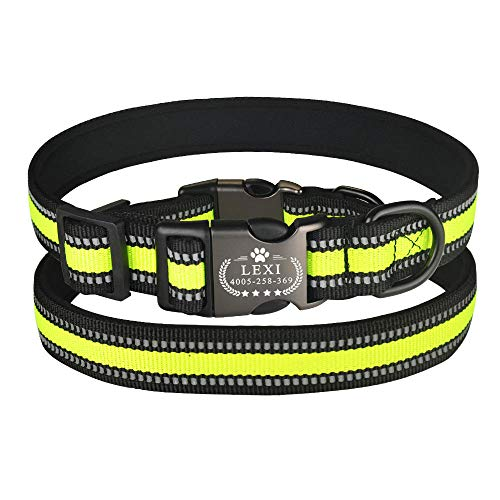 Collar Reflectante Personalizado para Perros, Ajustable, Acolchado, Personalizado, Grabado, ID, Nombre SL-Green_L_42-68cm__