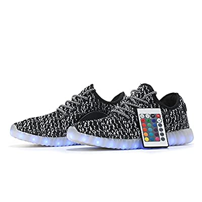 GELONG Unisex LED Shoes High Top Breathable Sneakers Remote Light Up Shoes USB Charging Flashing Luminous Trainers for Festivals,Christmas Party for Women Men Girls Boys (8 Women / 6.5 Men, Black)