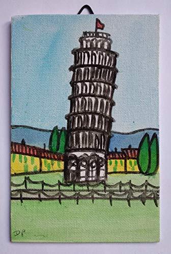 Turm von Pisa-gemalt auf Leinwand Bord Handarbeit,Größe in cm10x0,3x15cm.MADE ITALY Toscana Lucca, Zertifikat.
