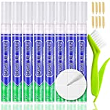 KOOLPUG Grout Pen White with Tile Grout Cleaner Brush, 8 pcs Tile Grout Whiteners, Anti Mould Grout Reviver Pen, Sealant Pen, Grouting Pen for Restoring Bathroom and Kitchens (White)