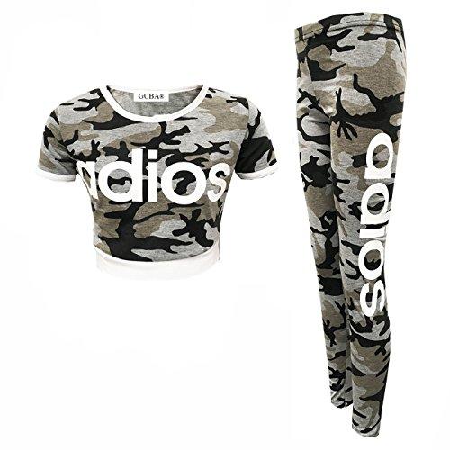 Guba® Mädchen-Top und Leggings, 2-teiliges Set, Camouflage, 7-13 Jahre Gr. 7-8 Jahre, Adios Grey Camouflage