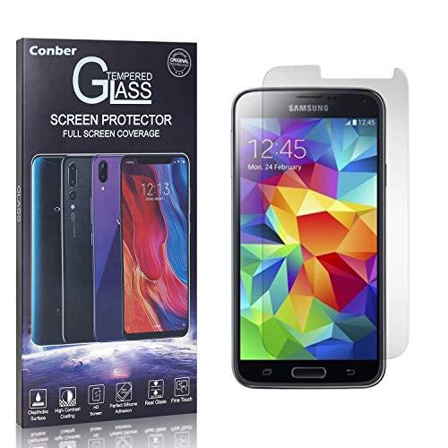 Conber Panzerglasfolie für Samsung Galaxy S5, [1 Stück] 9H gehärtes Glas, Blasenfrei, Kratzfest, Hochwertiger Hülle Freundllich Panzerglas Schutzfolie für Samsung Galaxy S5