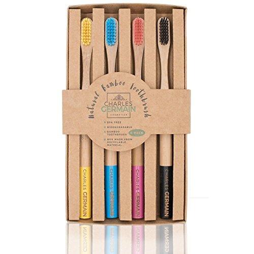 Brosse à dents en bambou en bois naturel par Charles Germain Cosmetics   brosse à dents biodégradable, brosse bambou écologique, brosse à dents (4 couleurs)