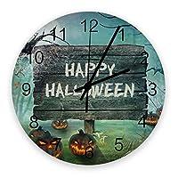 掛け時計 ハロウィン 恐怖 夜 壁掛け時計 掛時計 静音 clock サイレント 壁時計 部屋 リビング 玄関 インテリア コンパクトサイズ 電池式 木掛け鐘 大数字 円形 贈り物 直径 30cm