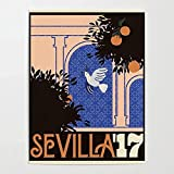 IFUNEW Lona Pared Arte Prints Pictures Bird Leaves Wall Art Sevilla Poster 60x90cm