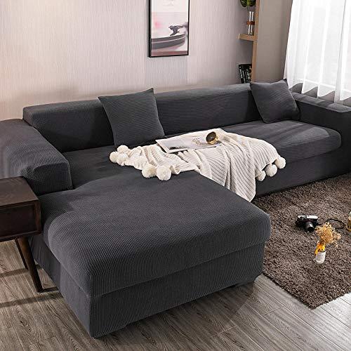 Fsogasilttlv Funda para sofá con diseño Moderno 2 plazas, Funda de sofá de Color sólido para Sala de Estar, Fundas de Streth para sofá con Funda Universal 145-185cm(1pcs)