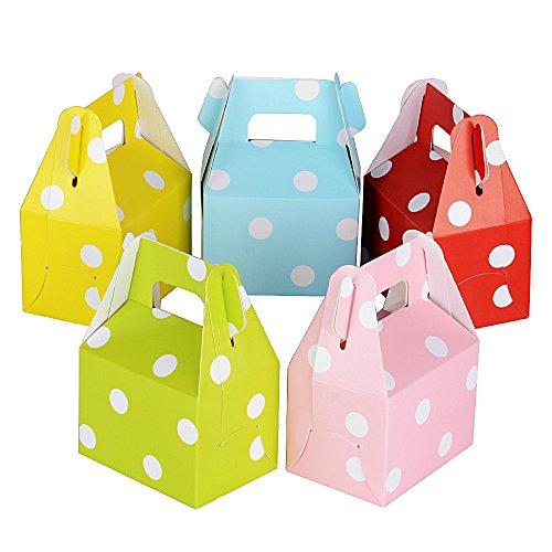 60pcs(7 * 5 * 5cm) Cajas de Caramelo Bombones Dulces Chocolate Regalos Recuerdos para Invitados de Boda Bautizo Fiesta Cumpleaños Puntos 5 colores