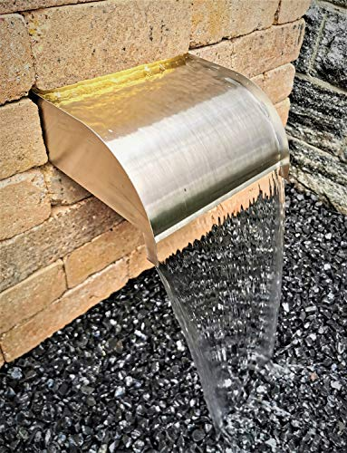 garten-wohnambiente Wasserfall Set Mambo 30 cm abgerundet max. Fallhöhe 1 m Edelstahl matt Geb. mit LED-Beleuchtung Speyer