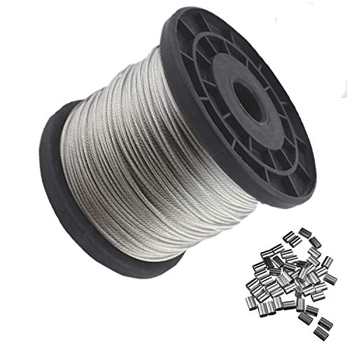 1//8 Bare OD Galvanized Steel Wire Rope 3//16 Coated OD 7x7 Strand Core 340 lbs Breaking Strength Vinyl Coated 250 Length