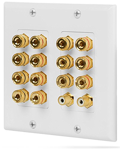 Fosmon 2-Gang 7.1 Surround Sound Distribution Home Theater Wall Plate, Gold Plated 7-Pair Copper Binding Posts Coupler Type for 7 Speakers, 2 RCA Jack for Subwoofer