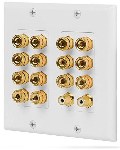 Fosmon [2-Gang 7.1 Surround Sound] Heimkino-Wandplatten Vergoldet Kupfer-Banane Bindung Pfosten Coupler Typ Wandplatte für 7 Lautsprecher und 2 RCA Buchse für Subwoofer (Weiß)