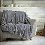Überwurf mit Waffelwabenmuster, weich, warm, Überwurf für Sofa, Bett, Reise, Tagesdecke (Anthrazit, Einzelbett: 125 x 150 cm)