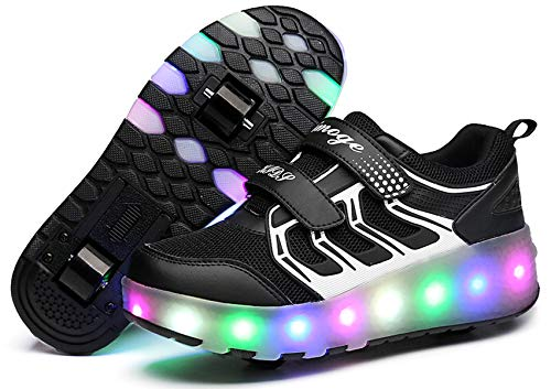 Zapatos con Ruedas Zapatillas con Dos Ruedas para niños y niña retráctiles para Patinar al Aire Libre, Zapatillas Deportivas con Luces LED Intermitentes,