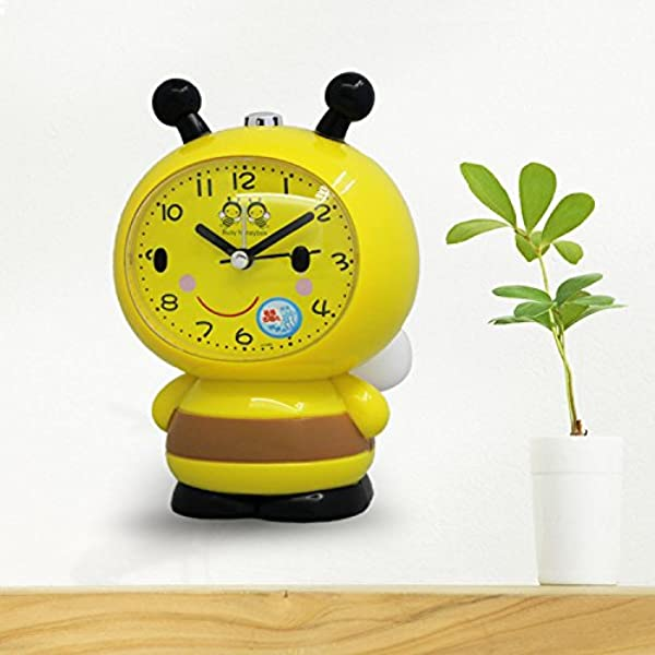 Jinsun Cute Bell Alarm Clock For Kids Creative Children Kids Students Bee With Wings Silent Alarm Clock With Light Yellow