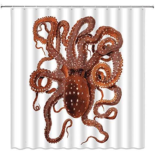 ZZ Power Bad Vorhang,Krake Duschvorhang Kraken Ozean Tier Tentakeln Mythischen Nautischen Meer Monster Meeresbewohner Unterwasserwelt Landschaft Vintage Dekor Bad Vorhang Mit Haken 150x180cm
