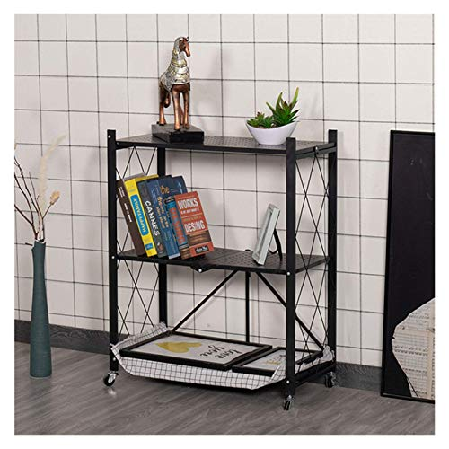 QAQA Shelving Units, Heavy Duty Shelving, Garage Storage Units, Wide Folding Metal Shelf with Caster Wheels, Plant Stand for Garage, Kitchen, Home, Office, NO NEED ASSEMBLY (Color : Three Floors3)