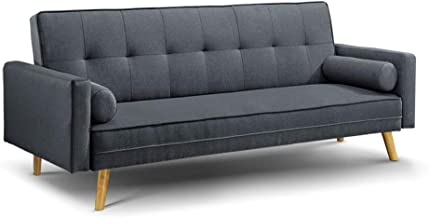Artiss Sofa Bed Adjustable 3 Seater Couch Recliner Fabric Lounge, Charcoal